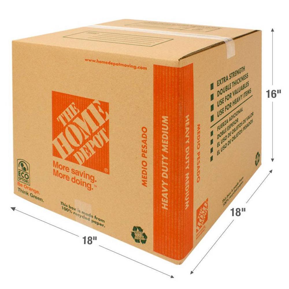 The Home Depot 18 in. L x 18 in. W x 16 in. D Medium Box-1001005 ...