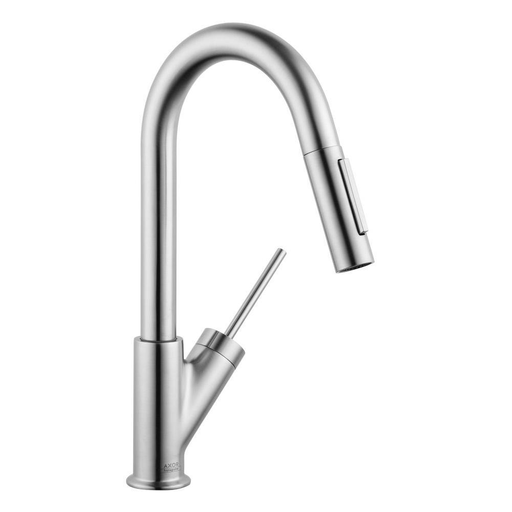 Axor Starck Prep Single-Handle Pull-Down Sprayer Kitchen Faucet in Steel Optik