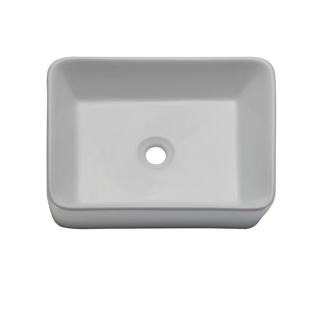 DECOLAV Classically Redefined Above-Counter Rectangular Vitreous China Vessel Sink in White