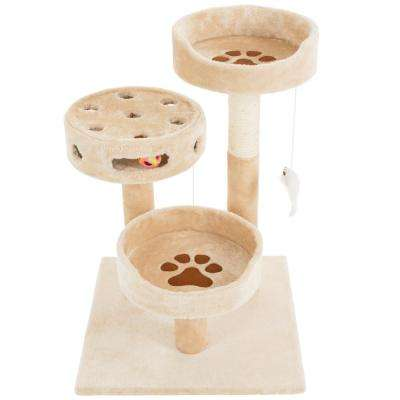 Tan 3 Tier Scratching Post with 2 Hanging Balls