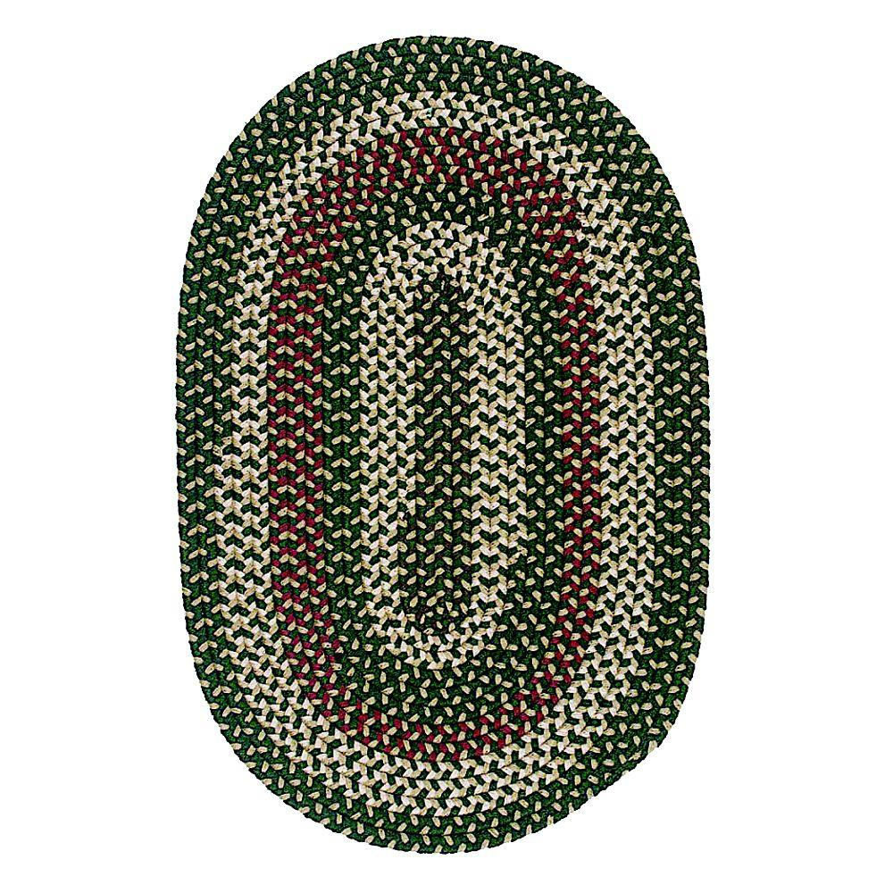 Colonial Mills Brook Farm Winter Green 7 ft. x 9 ft. Indoor/Outdoor Oval Braided Area Rug
