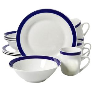 Click here to buy Gibson Nantucket Sail 12-Piece White with Blue Bands Dinnerware Set by Gibson.