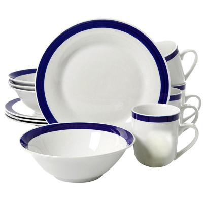Nantucket Sail 12-Piece White with Blue Bands Dinnerware Set