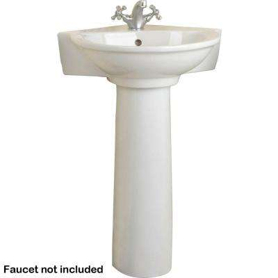 Evolution Corner Pedestal Combo Bathroom Sink in Bisque