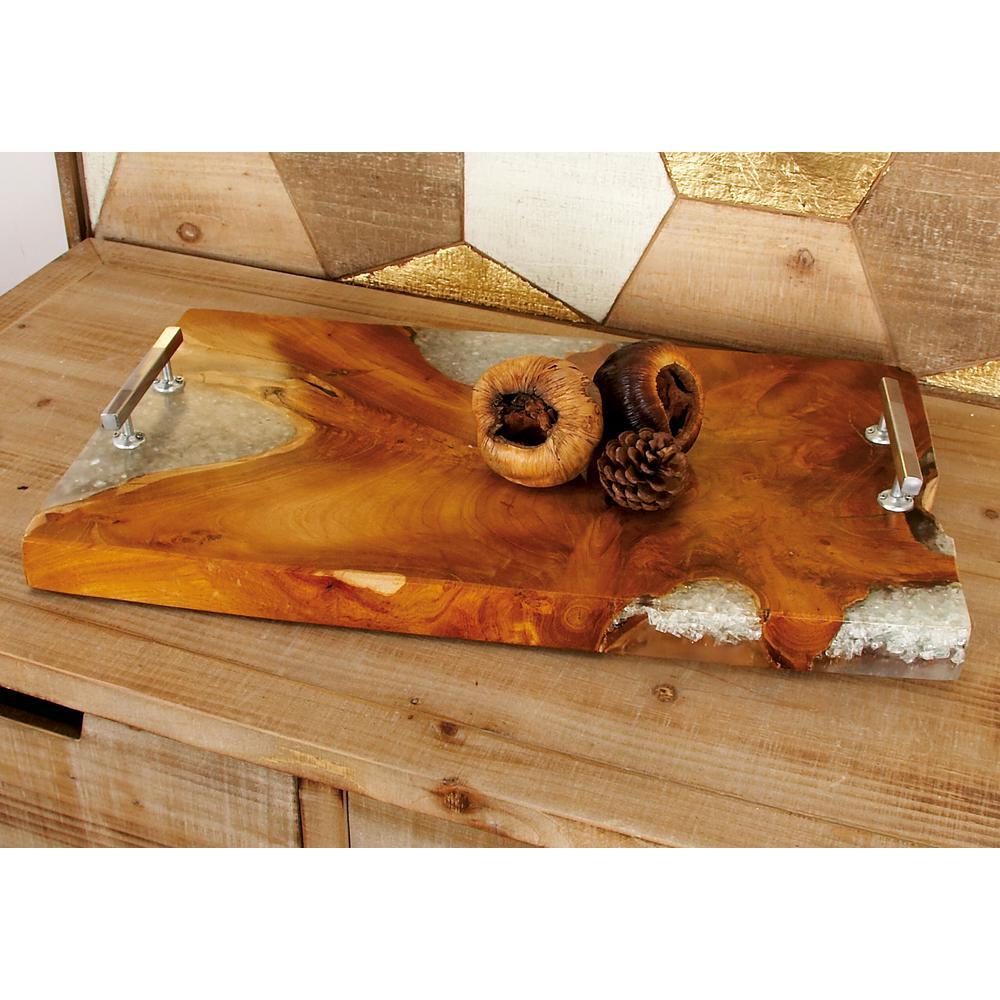 Litton Lane Natural Teak and Resin Rectangular Decorative Tray 42030