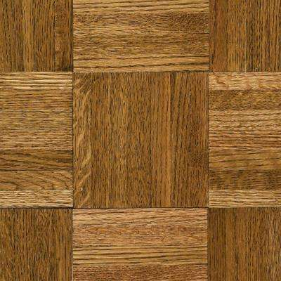 Natural Oak Parquet Spice Brown 5/16 in. Thick x 12 in. Wide x 12 in. Length Hardwood Flooring (25 sq. ft. / case)