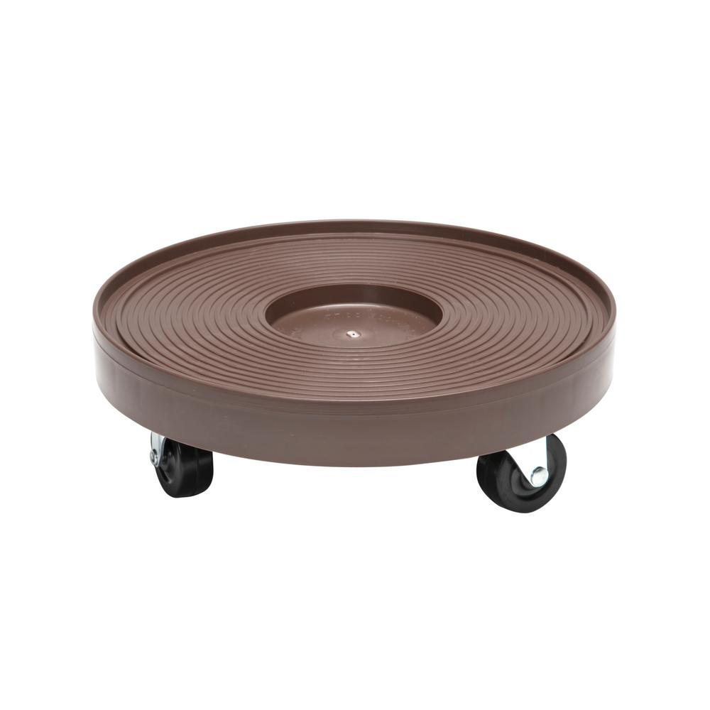 12 in. Espresso Round HDPE Plant Dolly