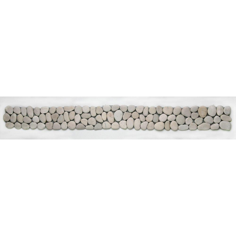 Solistone River Rock Brookstone 4 in. x 39 in. Natural Stone Pebble Border Mosaic Floor and Wall Tile (9.74 sq. ft. / case)