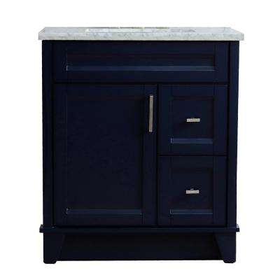31 in. W x 22 in. D Single Bath Vanity in Blue with Marble Vanity Top in White Carrara with White Rectangle Basin