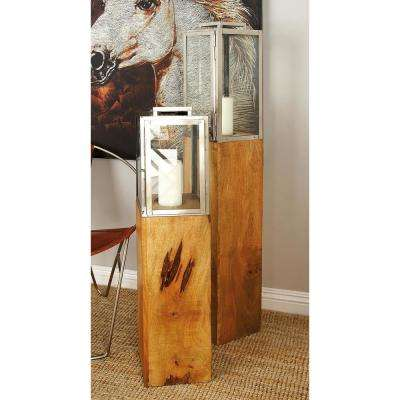 48 in. Brown Stainless Steel and Glass Rectangular Candle Lantern