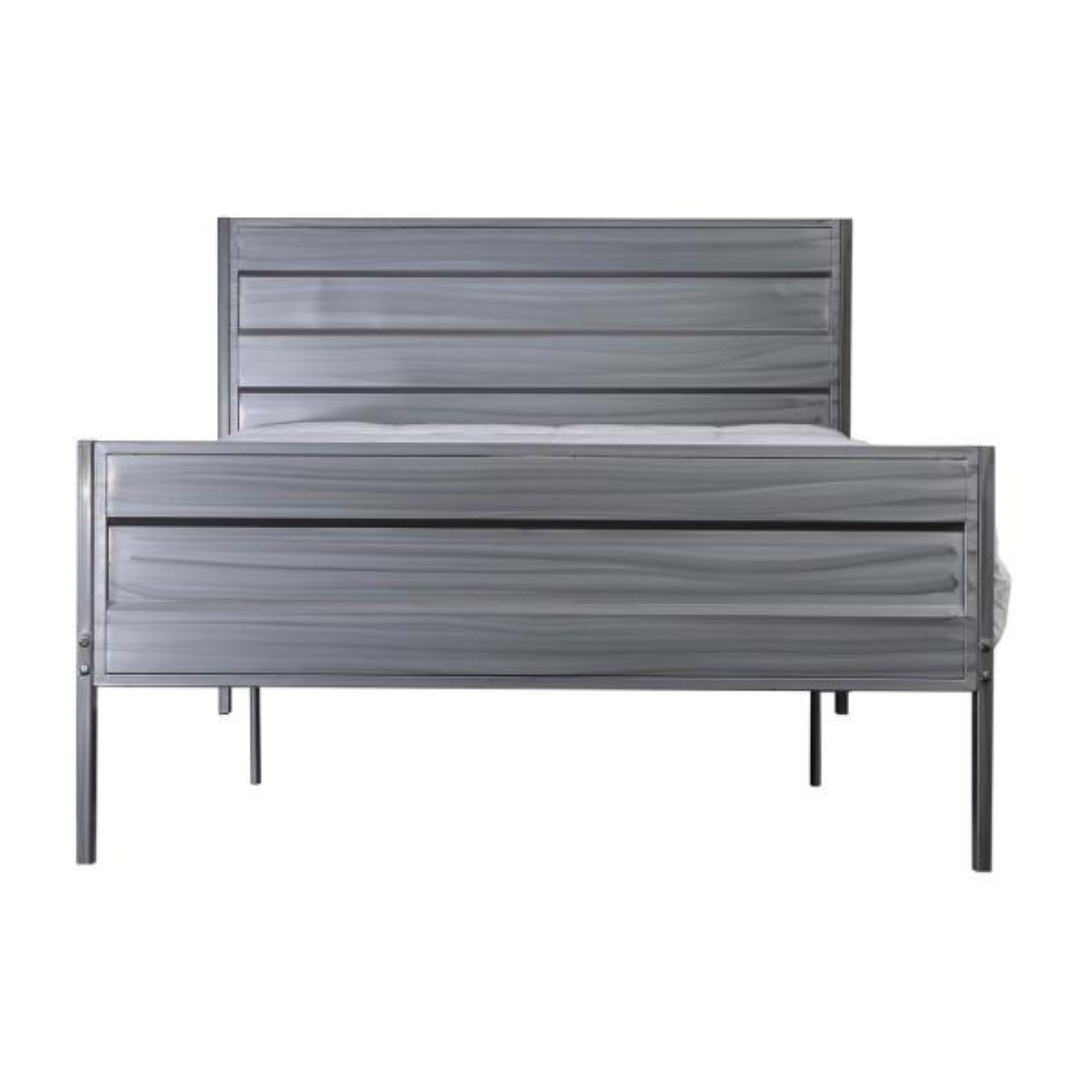 Mondo Silver Full Hand-Brushed Platform Bed