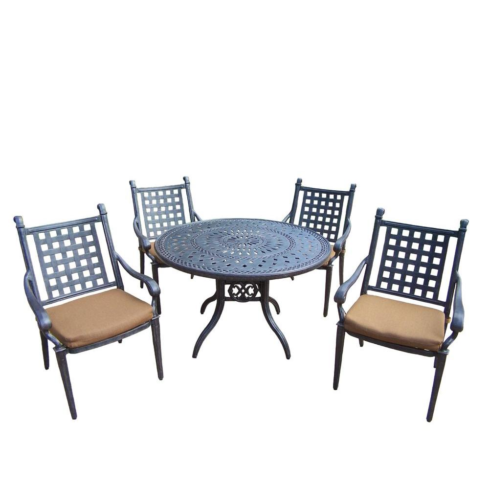 Oakland Living Cast Aluminum 5 Piece Round Patio Dining Set With Sunbrella  Cushions