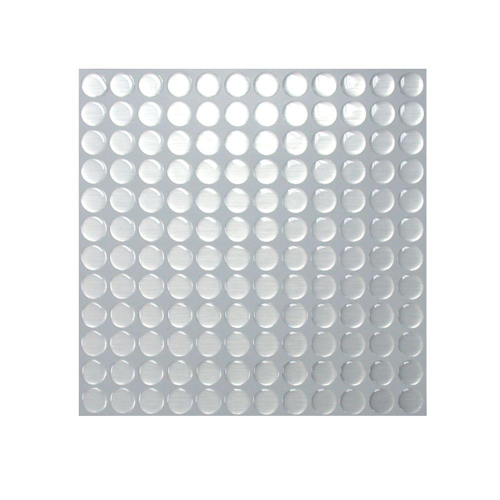 Smart Tiles 11 in. x 11 in. Stainless Peel and Stick Stainless Dots Mosaic (1-Pack)-DISCONTINUED