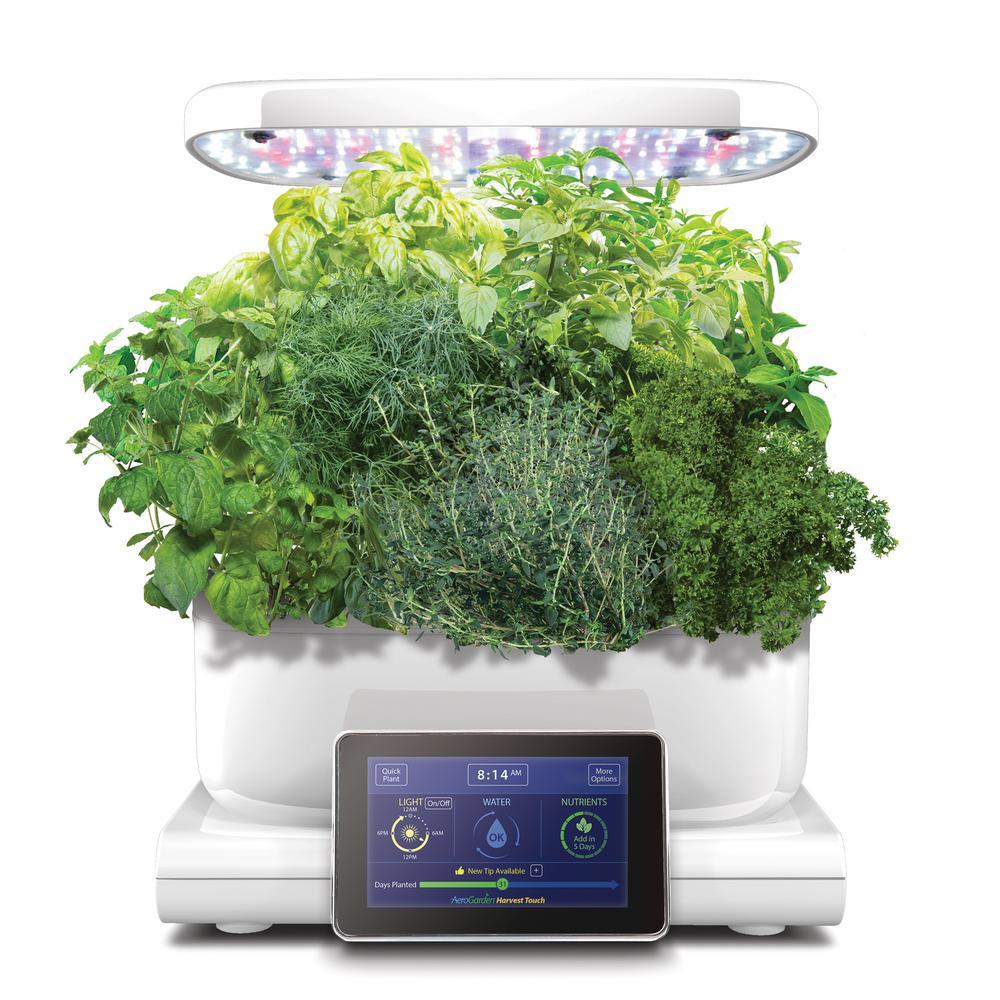 AeroGarden Harvest Touch Indoor Hydroponic Garden Kit in White