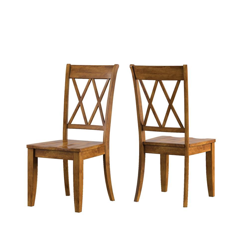 Homesullivan Sawyer Oak Wood X Back Dining Chair Set Of 2 40530c3 Ak2p The Home Depot