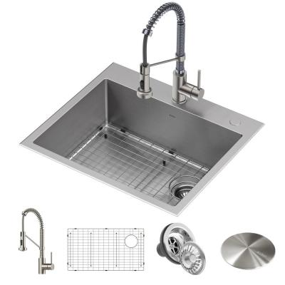 Loften All-in-One Dual Mount Stainless Steel 25in. Single Bowl Kitchen Sink with Pull Down Faucet in Chrome and Steel