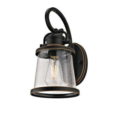 1-Light Traditional Outdoor Wall Sconce with Bubbled Glass, Oil-Rubbed Bronze Finish and Gold Trim