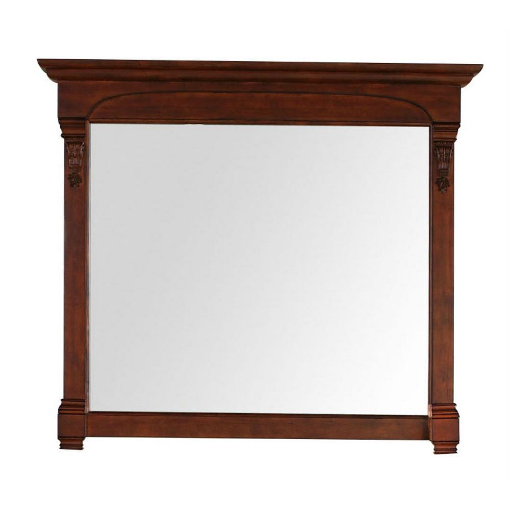 Brookfield 47 in. W x 42 in. H Framed Wall Mirror in Warm Cherry