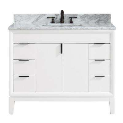 Emma 43 in. W x 22 in. D x 35 in. H Bath Vanity in White with Marble Vanity Top in Carrara White with Basin