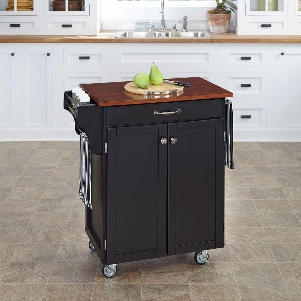 Cuisine Cart Black Kitchen Cart With Cherry Top
