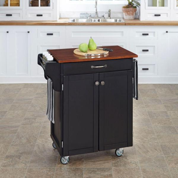 Home Styles Cuisine Cart Black Kitchen Cart With Cherry Top