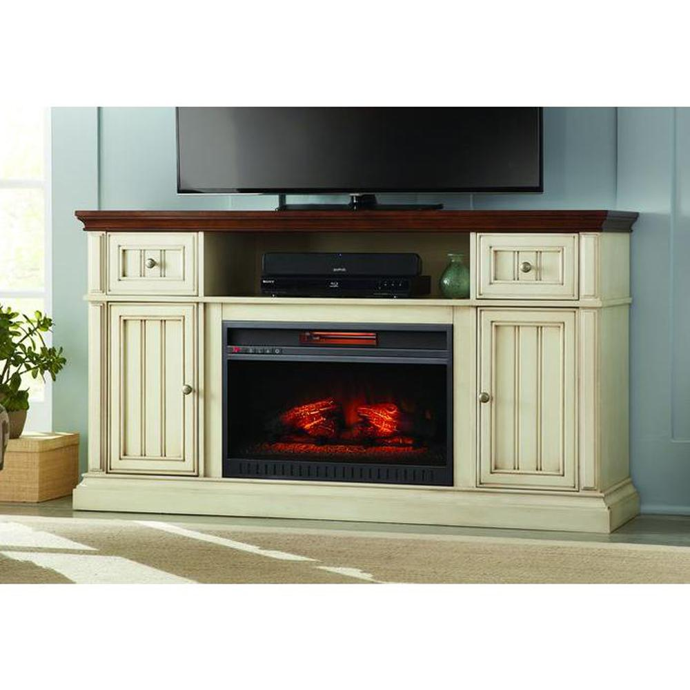 home decorators collection montauk shore 60 in tv stand electric fireplace in antique white and. Black Bedroom Furniture Sets. Home Design Ideas