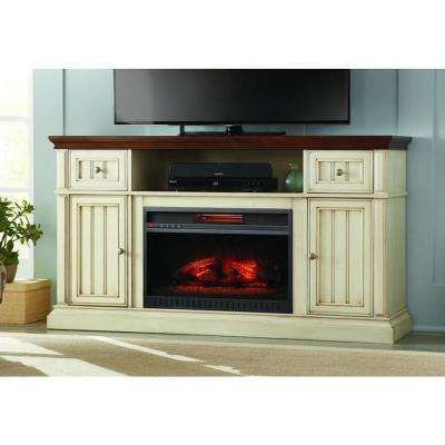 Montauk Shore 60 in. TV Stand Electric Fireplace in Antique White and Medium Cherry Finish