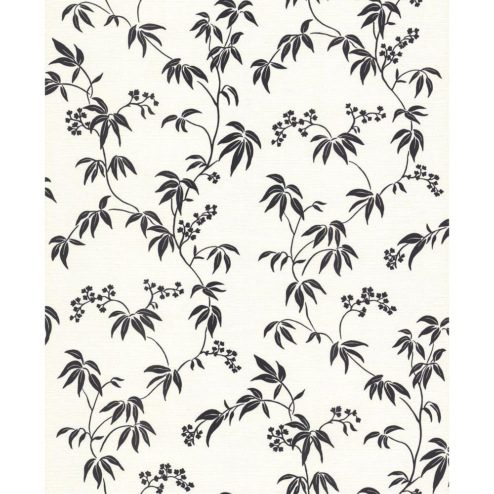 Brewster Madison Florals Off-White Bamboo Wallpaper Sample
