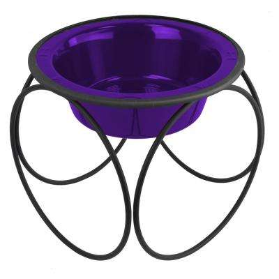 Platinum Pets 6.25 Cup Olympic Single Diner Feeder with Dog Bowl, Electric Purple