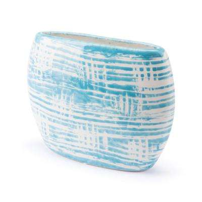 Washed 9.4 in. W x 6.9 in. H Blue and White Ceramic Planter