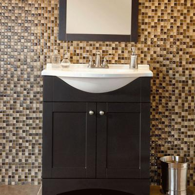 Del Mar 31 in. W x 36 in. H x 19 in. D Bathroom Vanity in Espresso with Cultured Marble White Vanity Top