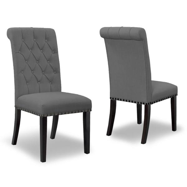 Glamour Home Aleki Grey Fabric Dining Chair Roll Back With Tufted Buttons And Nail Heads Set Of 2 Ghdc 1302 The Home Depot