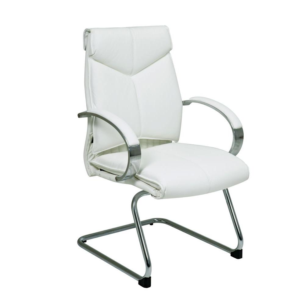Pro Line Ii White Leather Visitor Office Chair 7275 The Home Depot