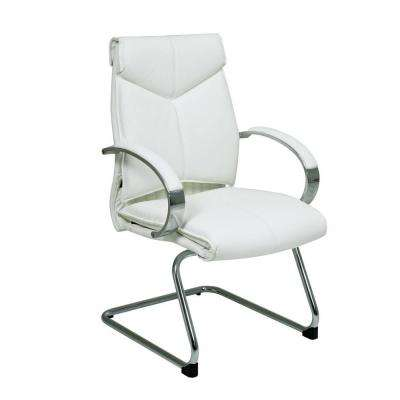 White Leather Visitor Office Chair