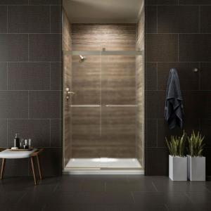 Kohler Levity 48 inch x 74 inch Semi-Frameless Sliding Shower Door in Silver with Crystal Clear Glass and Handle by KOHLER