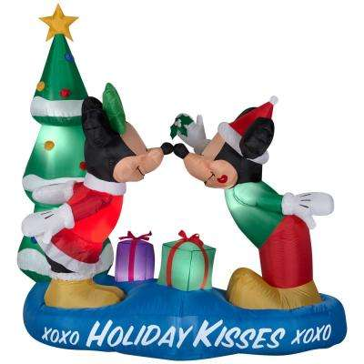 5.5 ft. Inflatable Lighted Airblown Mickey and Minnie with Mistletoe Scene