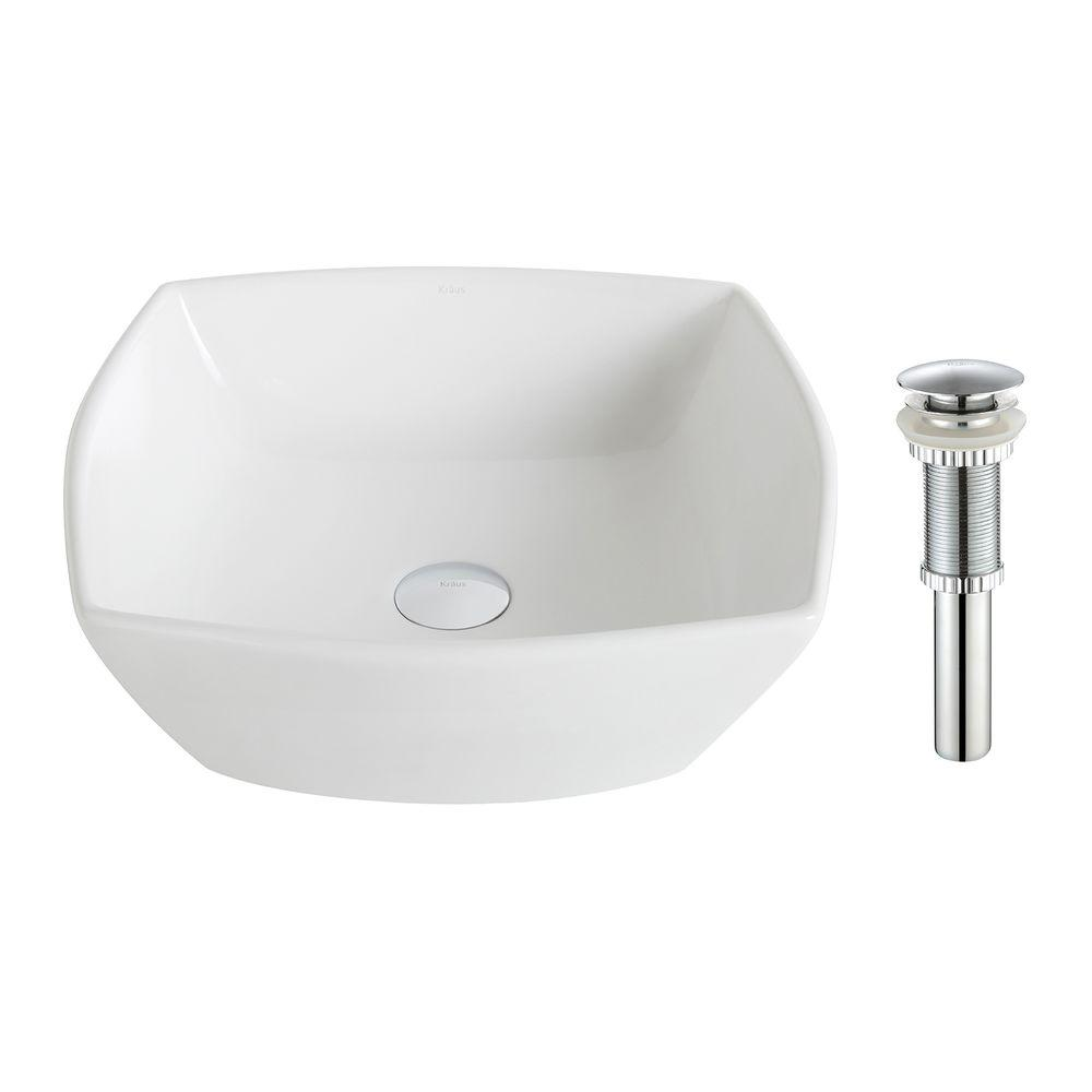 Elavo Flared Square Ceramic Vessel Bathroom Sink in White with Pop