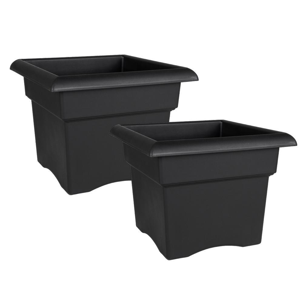 Veranda Square 18 in. Black Plastic Deck Box Planter (2-Pack)