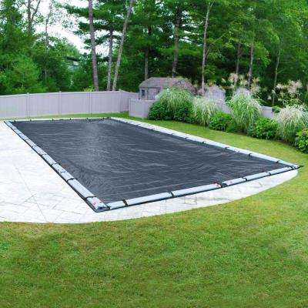 Extreme-Mesh 16 ft. x 32 ft. Rectangular Blue/Black Winter Pool Cover