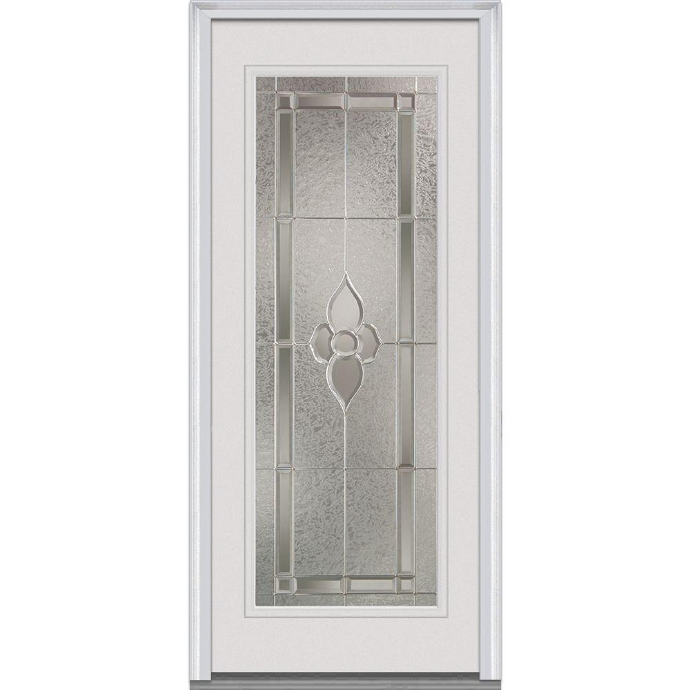 Milliken Millwork 36 in. x 80 in. Master Nouveau Decorative Glass Full Lite Primed White Steel Prehung Front Door