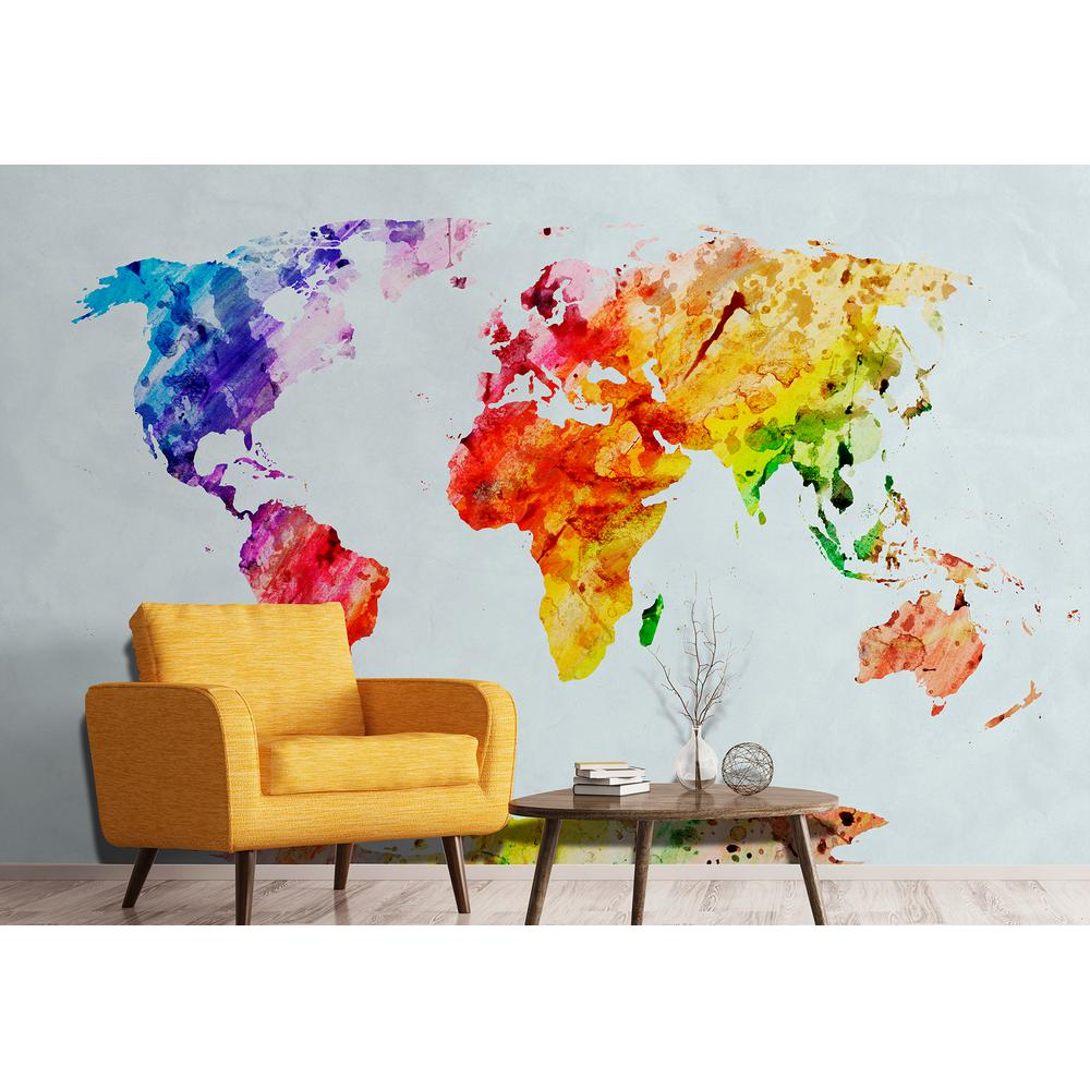 wall rogues world map wall mural fdm50585 the home depot. Black Bedroom Furniture Sets. Home Design Ideas