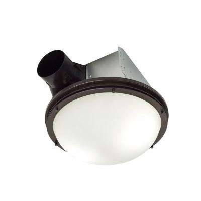 InVent Decorative Oil-Rubbed Bronze 80 CFM Ceiling Roomside Installation Bathroom Exhaust Fan with Light and White Globe