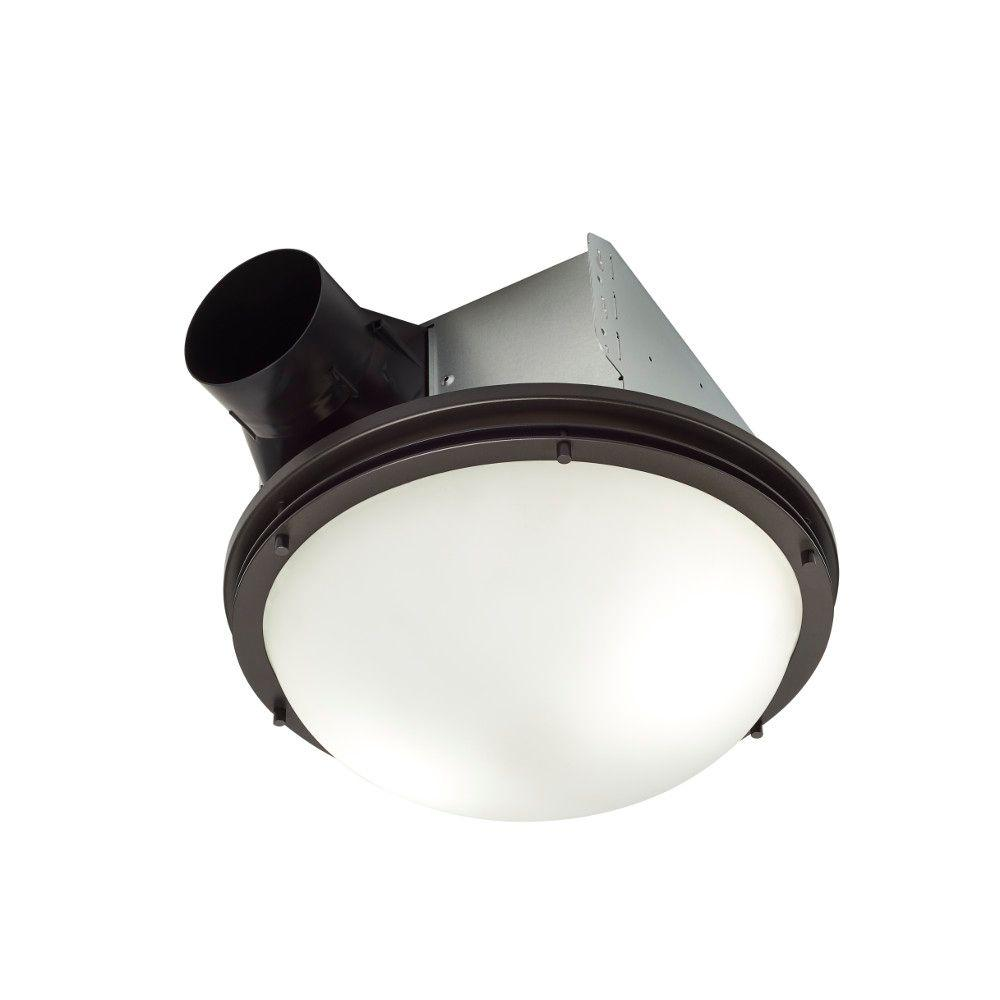 InVent Decorative Oil Rubbed Bronze 80 CFM Ceiling Exhaust Fan With Light  And White Globe