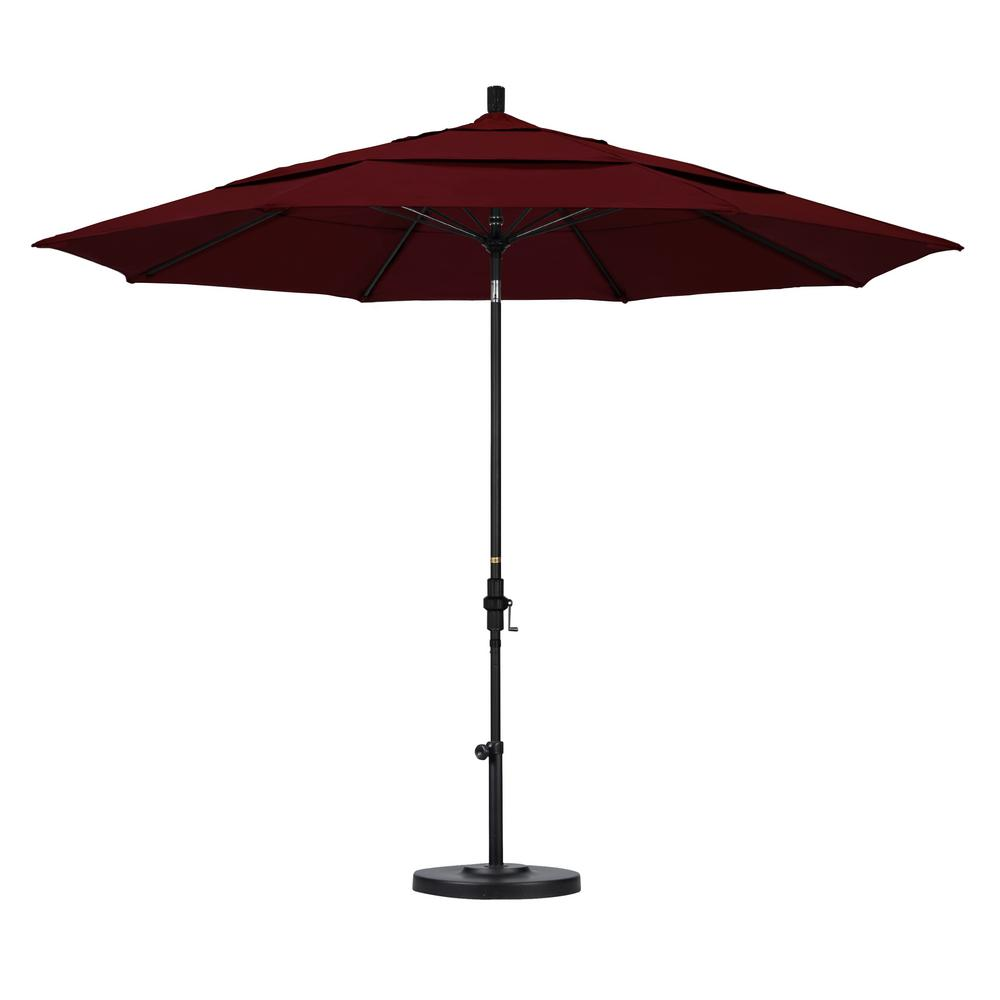 11 ft. Fiberglass Collar Tilt Double Vented Patio Umbrella in Burgundy