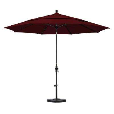 11 ft. Fiberglass Collar Tilt Double Vented Patio Umbrella in Burgundy Pacifica