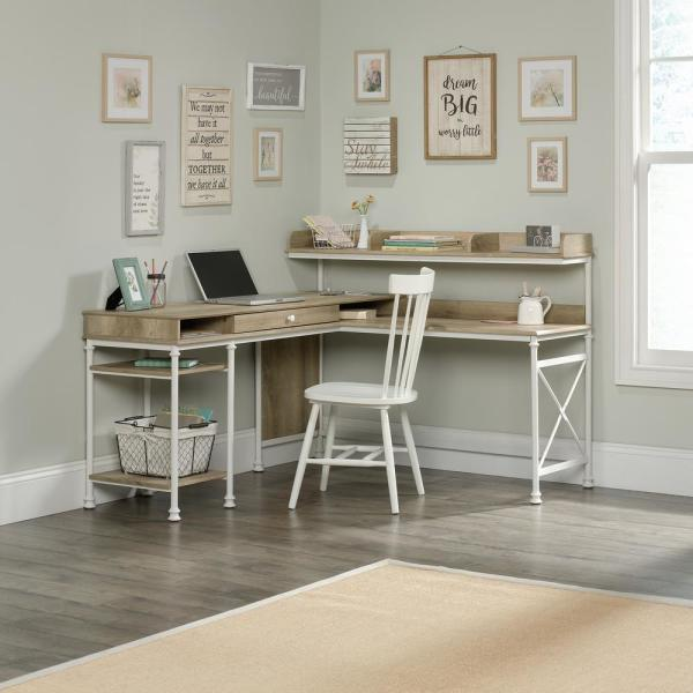 Canal Street Coastal Oak L Shaped Desk. By SAUDER