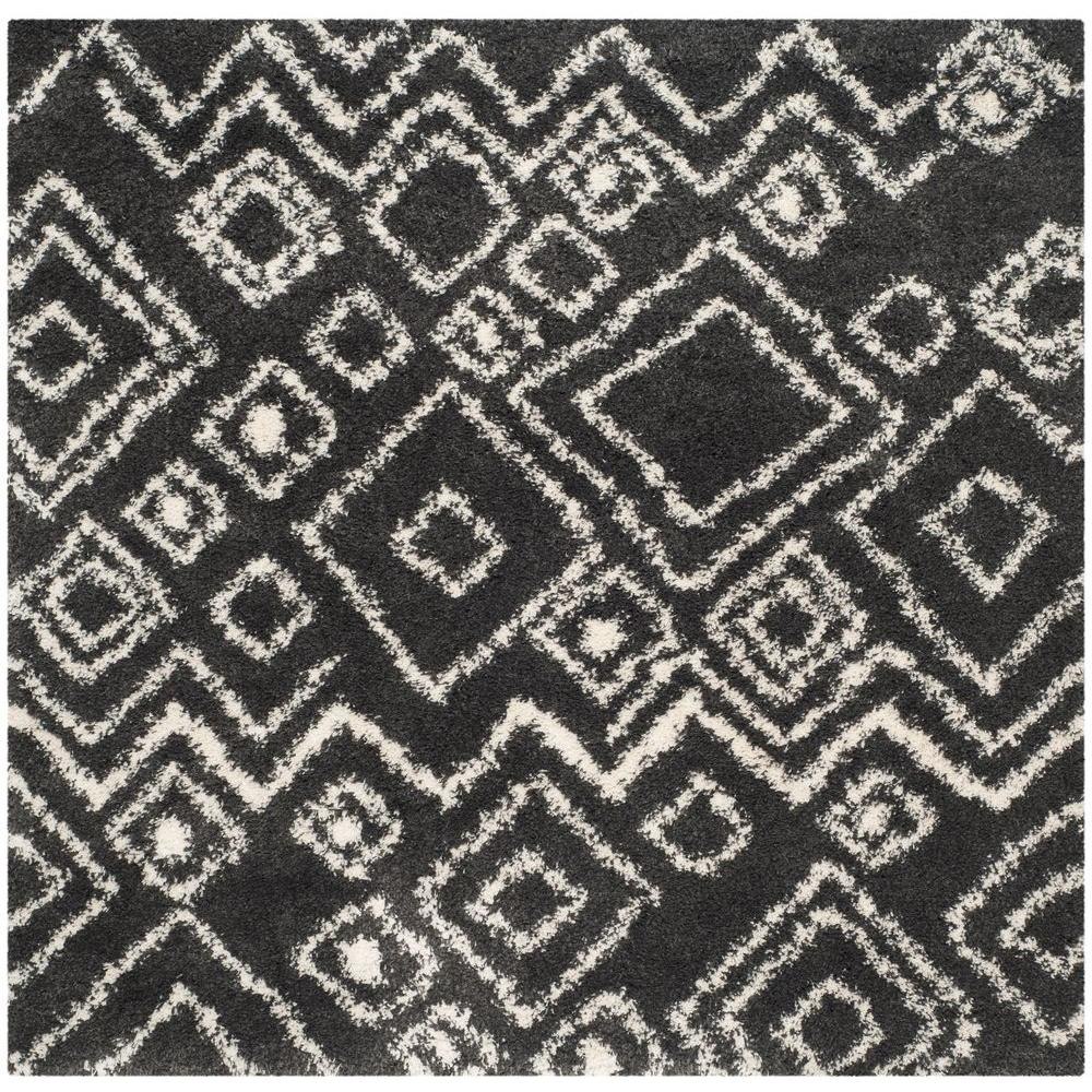 Safavieh Belize Shag Charcoal/Ivory 6 ft. 7 in. x 6 ft. 7 in. Square Area Rug