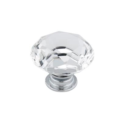 1-9/16 in. (40 mm) Clear, Chrome Contemporary Metal, Crystal and Glass Cabinet Knob