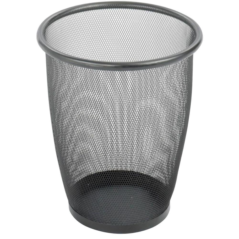 Safco 5 Gal Round Metal Mesh Trash Can Saf9717bl The Home Depot