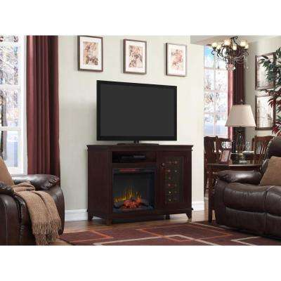 Bold Flame 47.25 in. Infrared Bluetooth Media Console Electric Fireplace TV Stand in Espresso with Wine Cooler